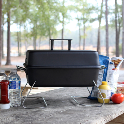 CHAR-BROIL<sup>®</sup> Gas Tabletop Grill - Perfect for your next camping trip or tailgating party, this tabletop, gas grill is made of quality steel construction with a durable finish.  Features an easy to clean porcelain-coated cooking grid, heat resistant handles, 190 sq. inch cooking surface and convenient lid hanging feature.  Filtered regulator will protect your tank valve from sand and other debris.  LP tank not included.