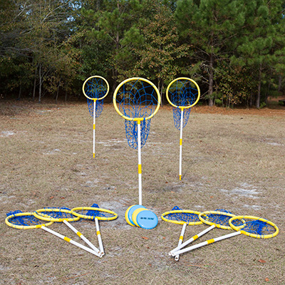 PARK & SUN<sup>&reg;</sup> Sports Super Loop Target Set - Family and friends can enjoy outdoor disc golf with this fun Super Loop set. Features nine 2-piece uprights, nine 18-target hoops with attached nets, nine poly ground stakes, nine numbered marker flags and four playing discs.