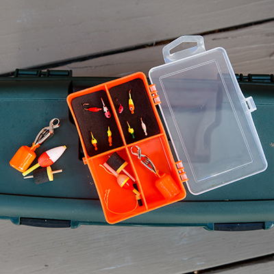 CELSIUS<sup>&reg;</sup> Ice Panfish Kit - Find those winter panfish with this ice fishing kit.  This reusable tackle box includes jigs, hooks, depth finders, shots and more.